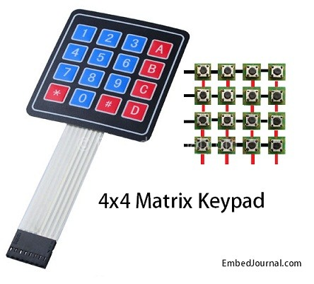 Interface 4x4 Matrix Keypad With Microcontroller - EmbedJournal