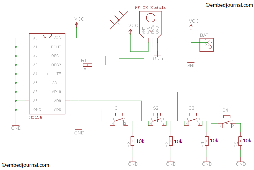 Wireless Remote Control Circuit Diagram | Make A Simple Rc Remote Controlled Robot Car Embedjournal